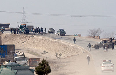 The site of an attack on a convoy of security forces on the outskirts of Kabul, Afghanistan, on Dec 11, 2018
