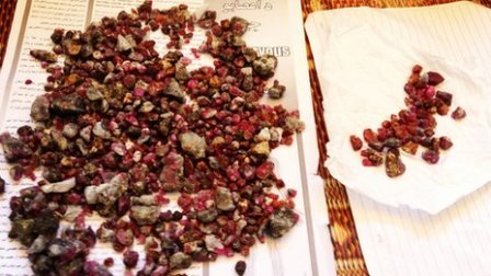 Blood red rubies of Jegdalak in Afghanistan