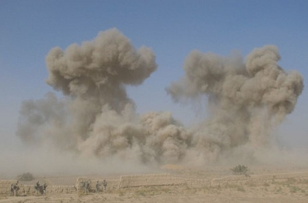 Army engineers blow up a grape hut near a newly established U.S. base near Sia Choy, Kandahar province