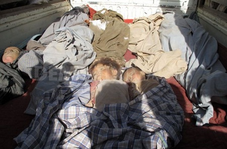 The bodies of two children allegedly killed in the NATO attack