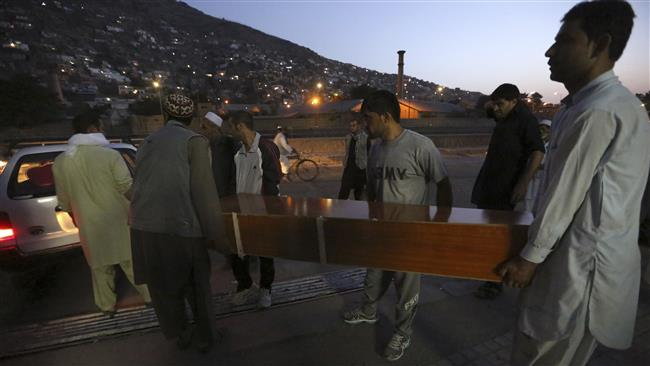 Afghans carry the dead body of a victim of a car bomb attack in Kabul, Afghanistan, Friday, Aug. 7, 2015