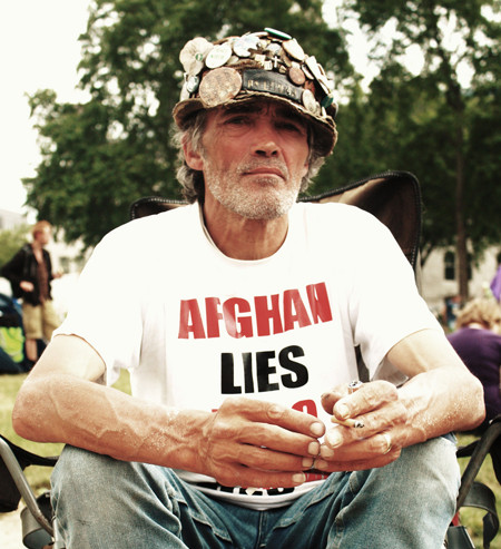 Brian Haw's demonstration for peace at London's Parliament Square started in June 2001 and thus pre-dates the September 11th attacks and the US led invasions of Afghanistan and Iraq