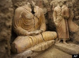 Ancient Buddha statues inside an ancient temple in Mes Aynak in Afghanistan
