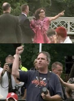 Protestors during Bush's speech