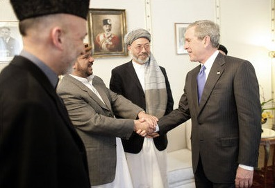 Bush with Afghan warlrods