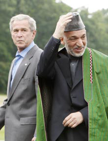 Bush and Karzai at Camp David