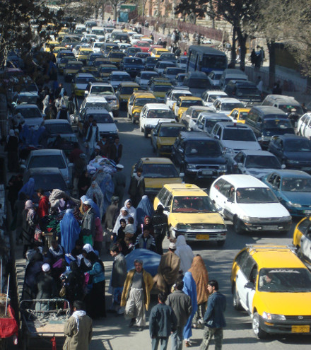 Cars cause pollution in Kabul