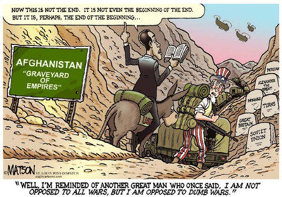 Obama entering Afghanistan and never leaving