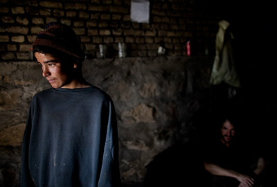 Child labourer in a coal mine in western Afghanistan