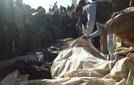 The bodies of some of the 23 civilians killed by Islamic State militants in Ghor Province, Afghanistan