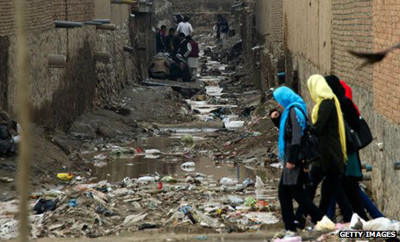 Drug addicts in dirty alley in Afghanistan