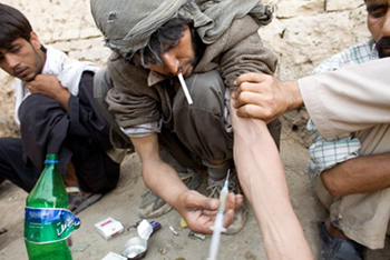 Drug addicts in Afghanistan