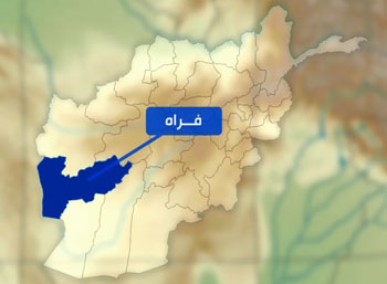 Farah province on the map of Afghanistan