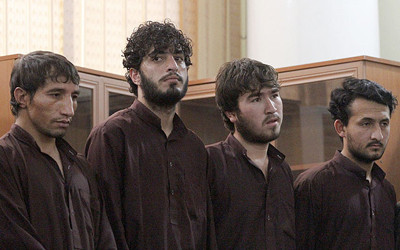 Defendants attend a hearing in the case of Farkhunda who was beaten to death in Kabul