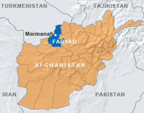 Faryab province on Afghanistan's map