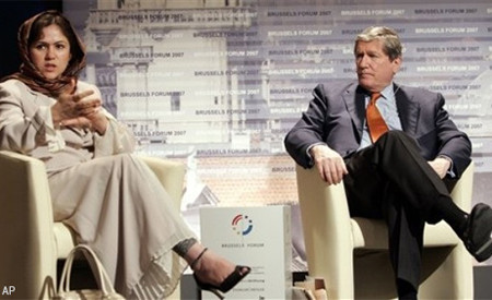 U.S. Special Envoy Richard Holbrooke, right, listens to Afghan Parliament Member Fawzia Koofi during a panel