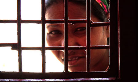 An inmate of Sherberghan women's prison, which was built with Nato funds and houses women serving jail terms for adultery