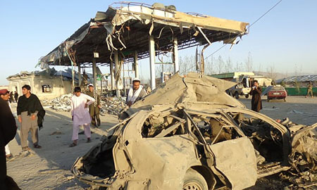 The aftermath of a suicide bomb attack on a police post in Paktia, Afghanistan