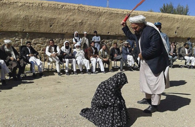 Woman being lashed in public in Ghor province for adultery