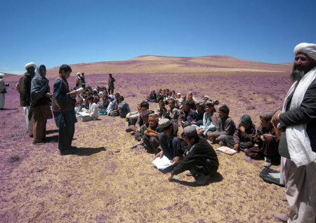 Many classes, such as this one in Doliana district, Ghor province are held in the open air