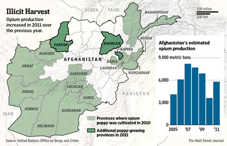 Graph of increased harvest of drugs in Afghanistan in 2011