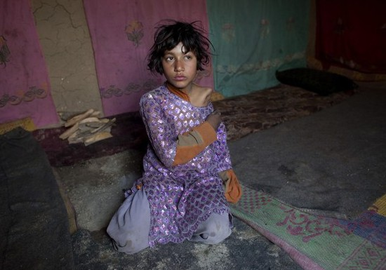 Gul Juma, 10, a girl who lost her arm during a US attack on her village