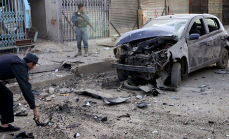Site of blast in Helmand province