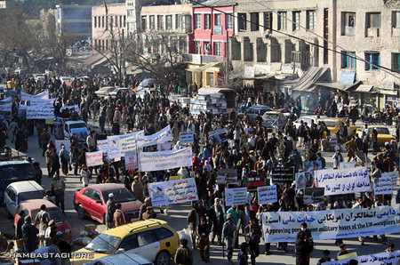 To denounce the approval of the US Permanent Military bases in Afghanista​n through the US-made so-called Loya Jirga, the Solidarity Party of Afghanista​n staged a protest rally in Kabul