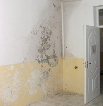 A leaking roof has caused mold and damage to walls in the new Salang Hospital in Afghanistan's Parwan province