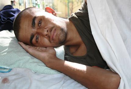 Injured man in Mirwais Hospital