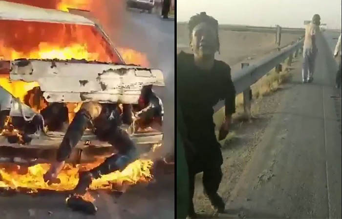 Iranian police set on fire a car full of Afghan refugees