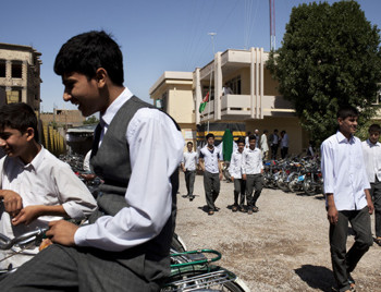 Students crowded the garden of the Tawhid private school during a break