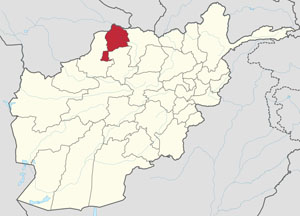 Jawzjan province shown on Afghanistan map