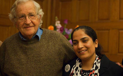Malalai Joya with Noam Chomsky in an event in Boston