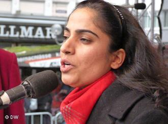 Malalai Joya in an anti-war protest in Bonn, Germany