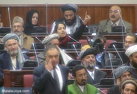 Joya protesting in the parliament