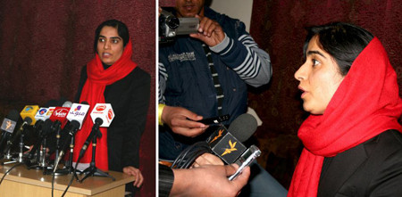 March 11, 2012: A day after armed attack on Malalai Joya's office in Farah and injuring two of her guards, she spoke to journalists in a press conference in Kabul