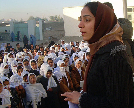 Malalai Joya visits girls school Farah