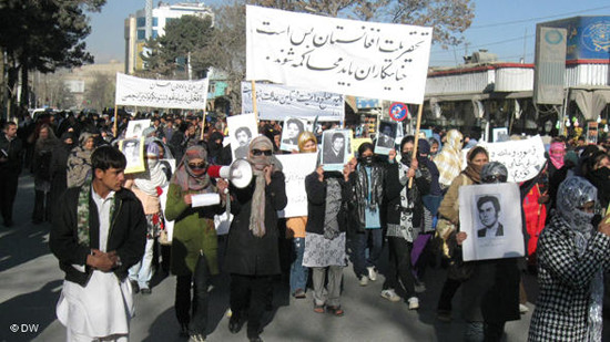 Women protest for justice in Afghanistan on December 10, 2010