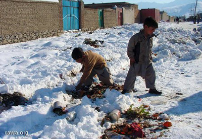 Children looking for food in the snow