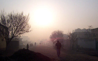 A street in Kabul in the morning showing air pollution