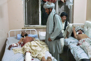 Wounded by explosion in the wedding in Kandahar