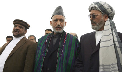Hamid Karzai with Fahim and Khalili