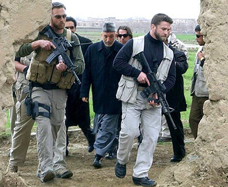 Karzai with his guards