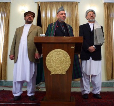 karzai with warlords qaseem fahim and kareem khalili