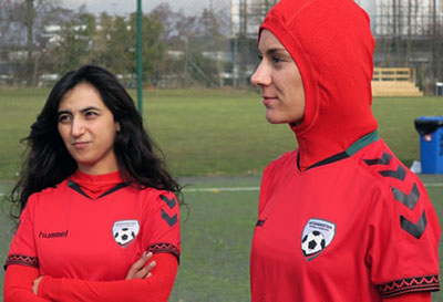 Khalida Popal and Shabnam Mabarz female Afghan footballer