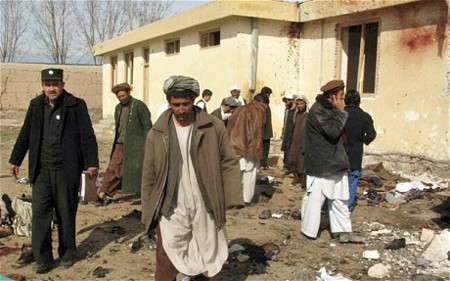 Site of bomb blast in Kunduz on Feb. 21 2011