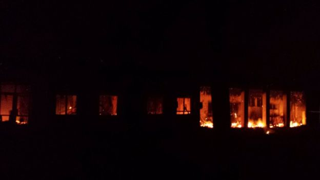 MSF released this photo of its hospital in Kunduz on fire after the bombings