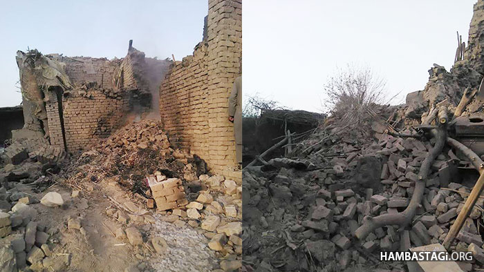Aftermath of a US airstrike in northern Kunduz province. Several houses were destroyed in the night time strike