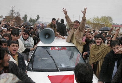 People in Laghman protest against US killings